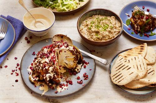 Ras el hanout cauliflower shawarma and baba ganoush