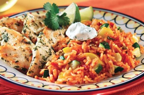 Cilantro Chicken with Zucchini Spanish Rice