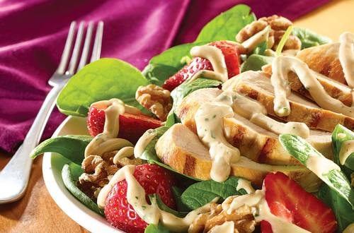 Creamy Balsamic Grilled Chicken Spinach Salad