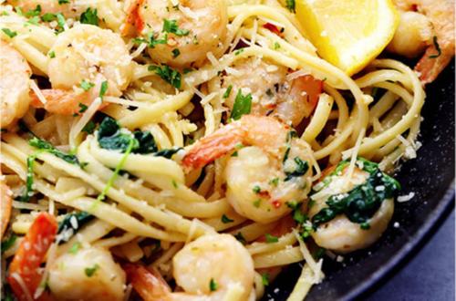 shrimp pasta with kale