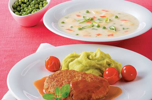 Knorr - Kalbsfaschiertes nach Butterschnitzelart mit Erbsen-Kartoffelpüree