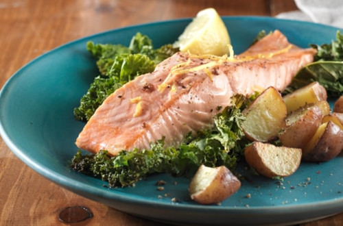 Roasted Salmon with Potatoes and Kale