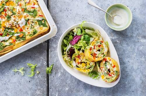 Pfannkuchen-Gemüse-Rolle