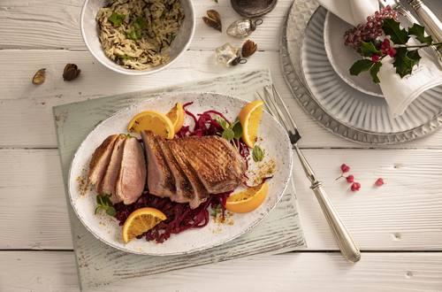 Knorr - Entenbrust mit Würz-Rotkohl