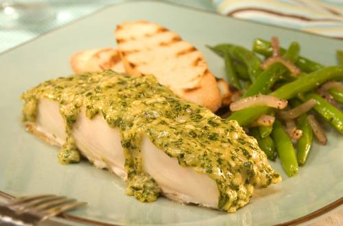 Pesto-Topped Halibut