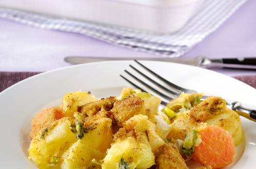 Poulet et légumes d'hiver en petite croûte épicée