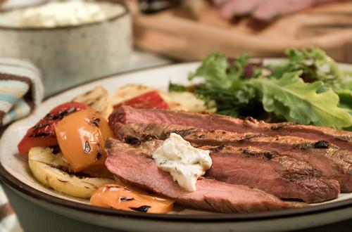 Chipotle Flank Steak with Creamy Cilantro Sauce