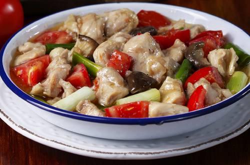 鮮菇番茄蒸雞