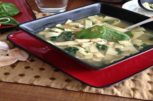 Hearty Noodle & Spinach Soup