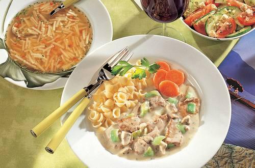 Knorr - Kalbsgeschnetzeltes mit Lauch, Champignons und Österkron-Sauce