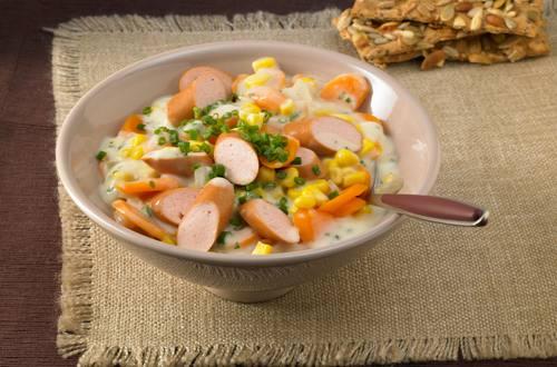 Knorr - Möhren-Mais-Pfanne mit Würstchen