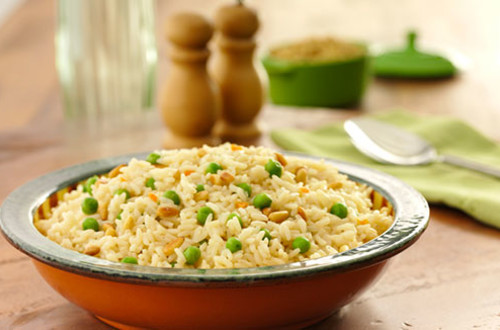 Toasted Rice with Peas & Pine Nuts