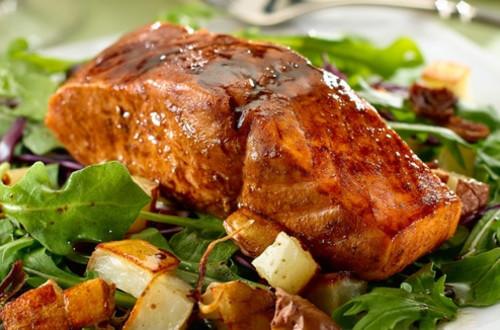Maple-Balsamic Salmon with Roast Potato & Arugula Salad