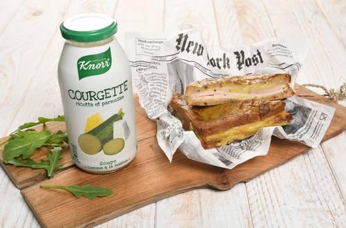 Croque-monsieur, béchamel de Soupe Knorr® « comme à la maison », Courgette Ricotta et Parmesan