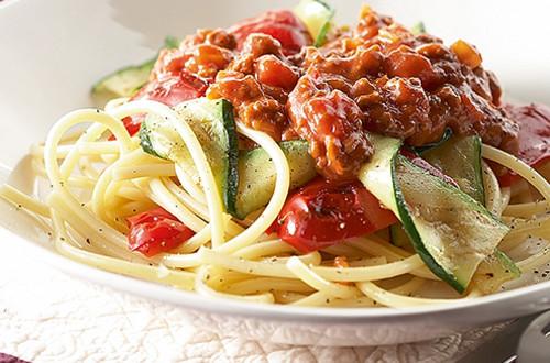 Spaghetti Bolognese met gegrilde groenten