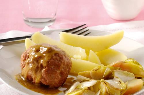 Boulettes de viande hâchée de veau sauce moutarde