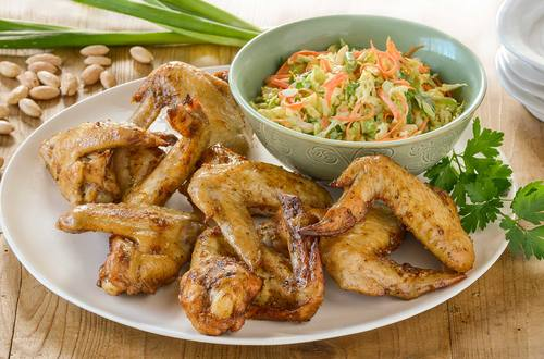 Garlic & Herb Chicken Wings Recipe with Coleslaw