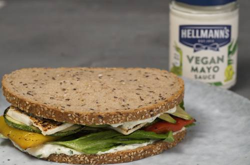 vegan sandwich with tofu and vegetables