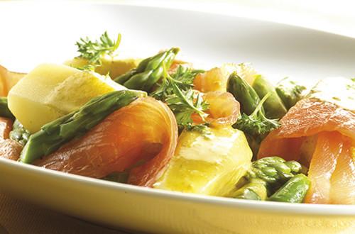 Asperges au wok au saumon fumé et citron