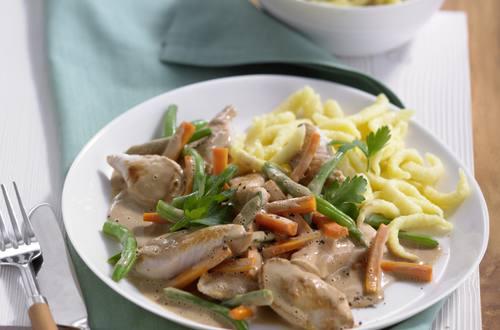 Knorr - Hühnergeschnetzeltes mit Schinken und Fisolen