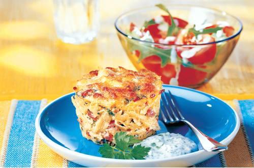 Knorr - Überbackenes Nudelsoufflé mit Schinken und Spinat