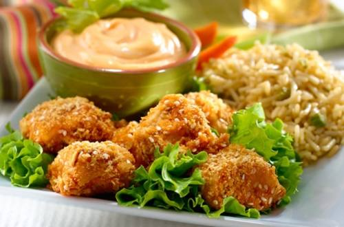Baked Chicken Nuggets with Cheddar Broccoli Rice