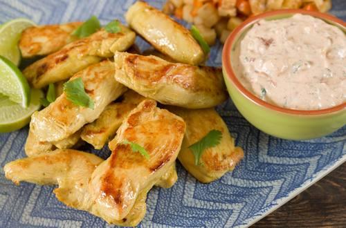 Pollo Knorr® con Limón y Dip Cremoso de Cilantro