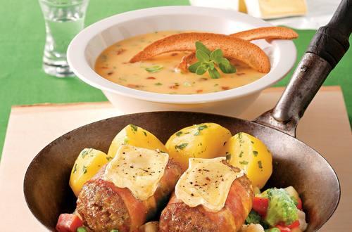 """Knorr - Steaks """"Förster Art"""" mit Rohschinken und Käse"""