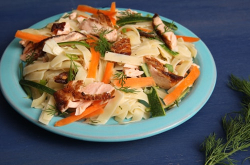 Salmon with Zucchini & Carrot Ribbons