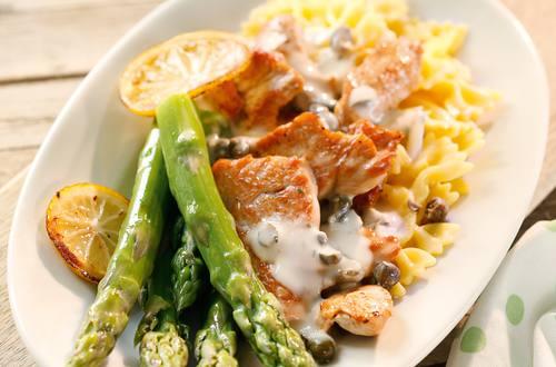 Knorr - Putengeschnetzeltes mit Spargel, Kapern und Pasta