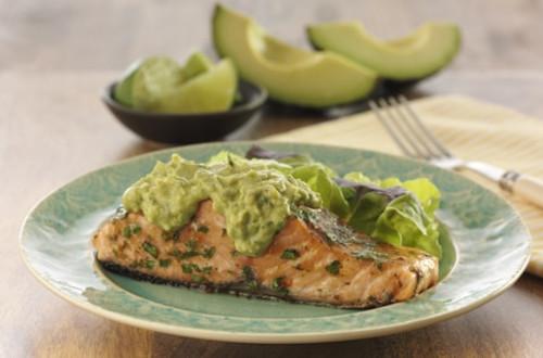 Salmon with Creamy Avocado Dressing
