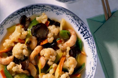 Shrimps-Gemuese-Pfanne