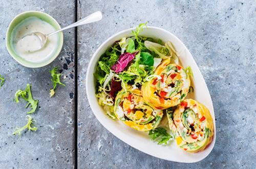 Pannenkoekrolletjes met groenten