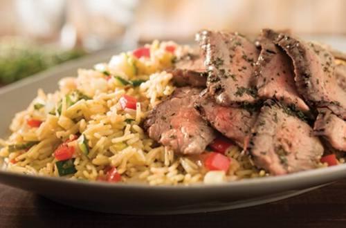 Grilled Steak & Summer Vegetable Rice
