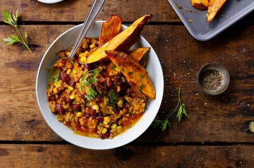 Knorr - Chili con Carne mit Süßkartoffelwedges
