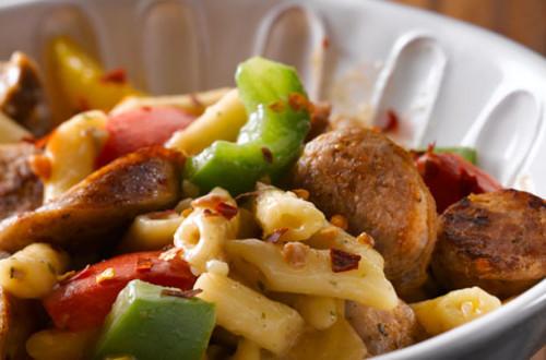 Hot Sausage & Peppers Carbonara