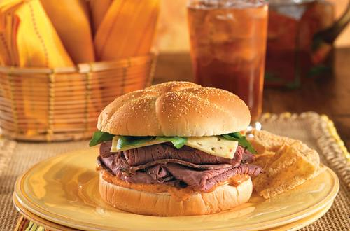 Roast Beef Sandwich with Chipotle Mayo and Pepper Jack Cheese