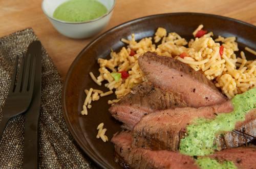 Steak with Creamy Chimichurri Sauce