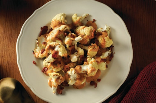 Roasted Cauliflower with Creamy Bacon Parma-Rosa Sauce