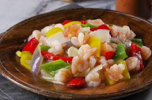 清炒三色彩椒鮮蝦