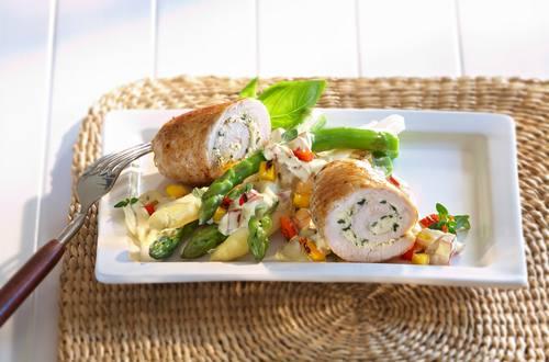 Roulades de poulet et poivrons au gril, sauce hollandaise