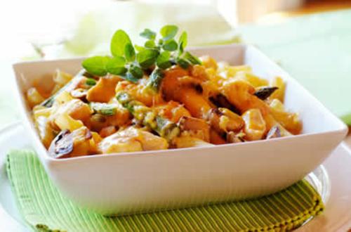 Knorr - Schwammerl-Erdäpfeleintopf mit grünem Spargel