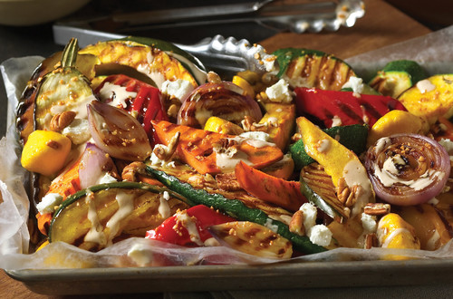 Grilled Fall Vegetables with Creamy Balsamic Dressing