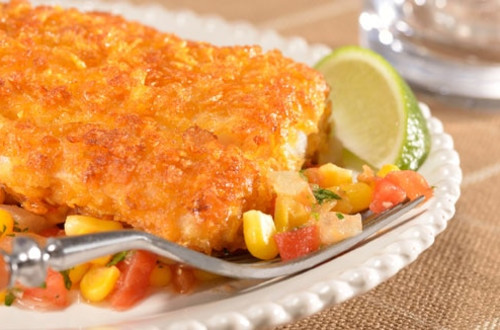 Golden Crusted Fish Fillets with Warm Corn & Tomato Salsa
