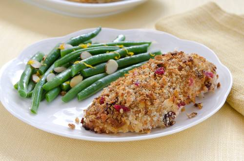 Baked Cranberry-Orange-Stuffing-Crusted Chicken