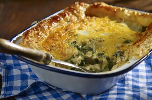 easy chicken and spinach puff pastry pie
