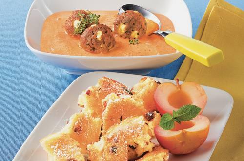 Paprikacremesuppe mit Fleisch-Käsebällchen