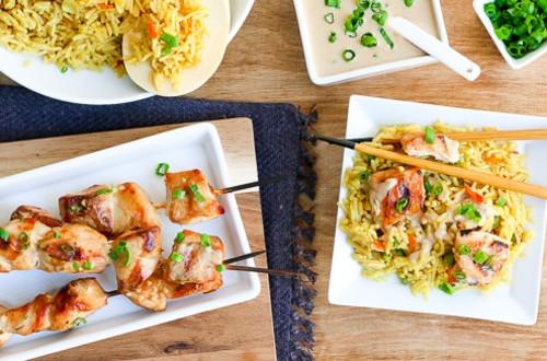 Peanut Chicken Satay with Asian Rice