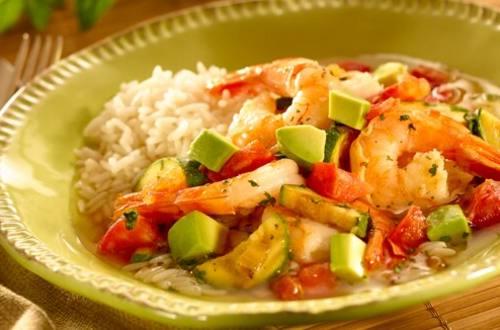 Shrimp & Avocado in Savory Broth