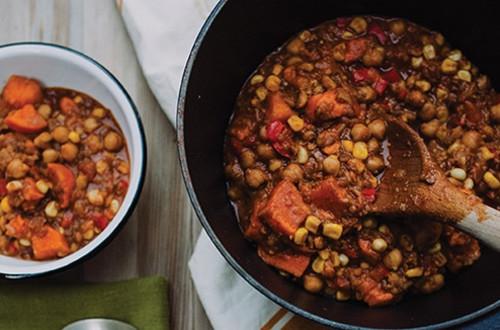 Chili aux lentilles et à la patate douce